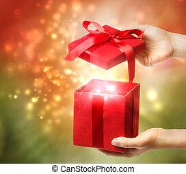 boîte, vacances, rouges, cadeau