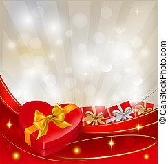 boîte, vecteur, cadeau, petite amie, arc, fond, rubans, jour, rouges
