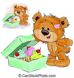 boîte, vecteur, dent douce, ours, gâteaux, teddy, illustration, brun, ouvert