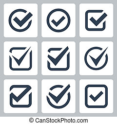 boîte, vecteur, ensemble, chèque, icônes