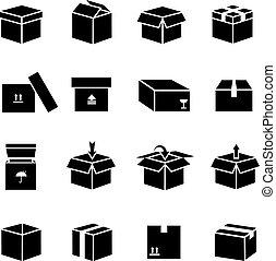 boîte, vecteur, ensemble, icônes