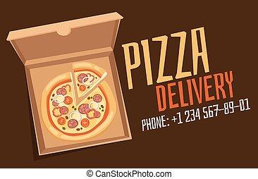 boîte, vecteur, illustration, pizza