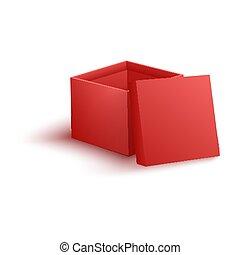 boîte, vecteur, illustration, réaliste, papier, rouges, ouvert, style., vide, 3d