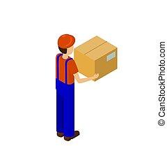 boîte, vecteur, service, dos, livraison, papier, homme