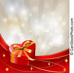 boîte, vector., cadeau, petite amie, arc, fond, ribbons., jour, rouges