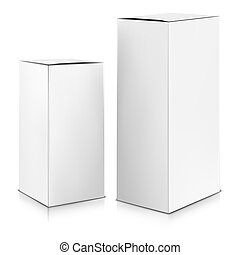 boîte, vector., haut., blanc, railler