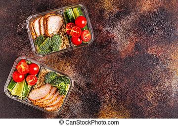 boîte, vegetables., déjeuner sain, poulet, riz, équilibré
