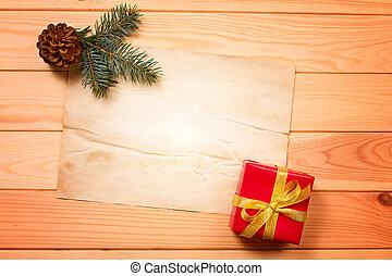 boîte, vendange, étiquette, cadeau, vide