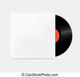 boîte, vendange, mockup., couverture, disques, vinyle, phonographe, template., vide, dehors