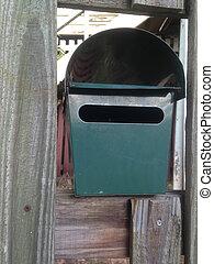 boîte, vert, poste, métal, maison