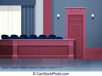 boîte, vide, intérieur, justice, jury, salle audience, ...
