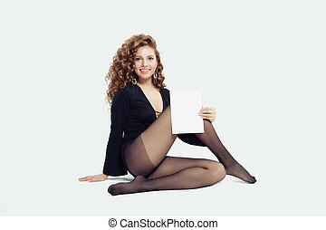 boîte, vide, tenue femme, collants, jeune, papier, noir, planche, fond, blanc, carte