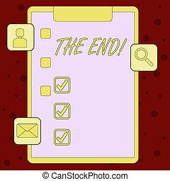 boîte, vie, concept, évaluation, updates, icônes, texte, apps, signification, fin, reminder., 3, presse-papiers, tique, quelque chose, temps, écriture, conclusion, end.