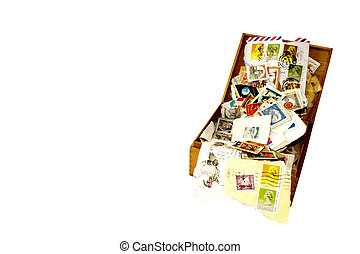 boîte, vieux, assorti, cigare, collection, timbres
