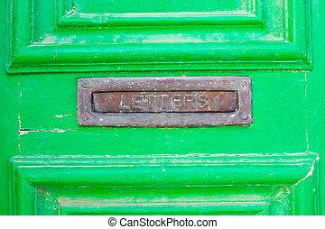 boîte, vieux, bois, vert, lettre, porte