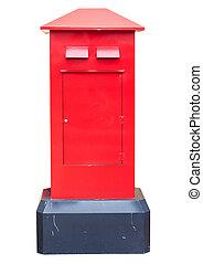 boîte, vieux, isolé, poste, blanc rouge