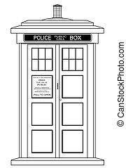boîte, vieux, police, façonné, britannique