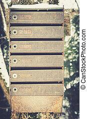boîte, vieux, vendange, métal, boîtes lettres, /, traditionnel, lettre, fait