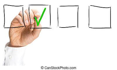 boîte, virtuel, coutil, interface, chèque, homme