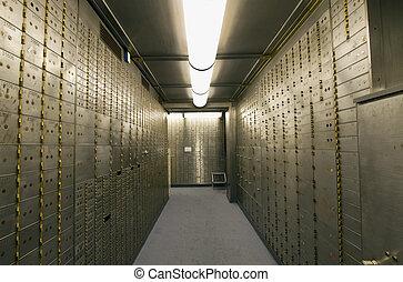 boîte, voûte, dépôt sûr, banque