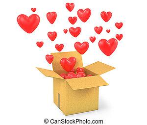 boîte, voler, lot, cœurs, carton, dehors