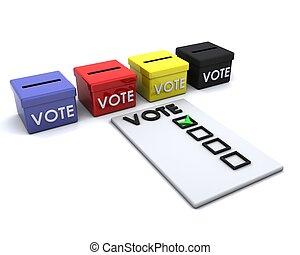boîte, vote, élection, jour