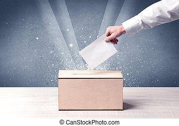 boîte, vote, coulage, vote, personne