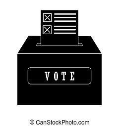 boîte, vote, inséré, réaction