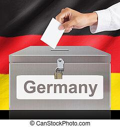 boîte, vote, métal, main