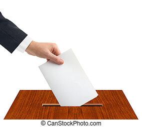 boîte, vote, main