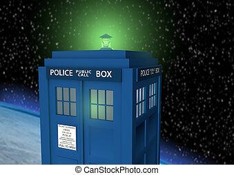boîte, voyage, police, temps