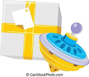 boîte, whirligig, cadeau