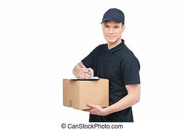 boîte, work., jeune, isolé, deliveryman, gai, confiant, quoique, presse-papiers, tenue, il, sourire, carton, blanc