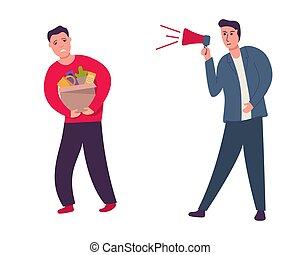 boîte, work., personnel, employé, employee., yells, patron, feuilles, affaires, partir