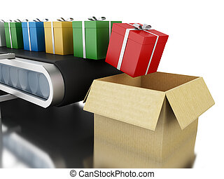 boîtes, 3d, belt., cadeau, convoyeur