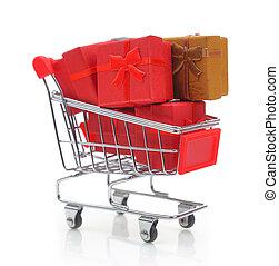 boîtes, achats, isolé, charrette, cadeau, blanc
