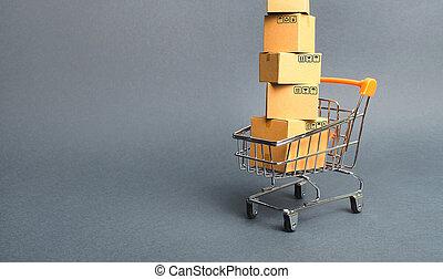 boîtes, achats, marchandises, commerce, élevé, achat, platforms., tour, society., par, ligne, e-commerce, consommateur, carton, concept, store., vente, trolley., puissance, supermarché, ventes