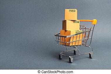 boîtes, achats, marchandises, commerce, achat, platforms., tas, society., par, ligne, e-commerce, consommateur, carton, concept, vente, trolley., puissance, ventes, supermarché, magasin