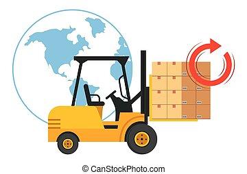 boîtes, ascenseur, camion