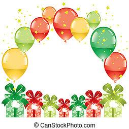 boîtes, ballons, cadeau, coloré, fête