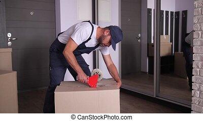 boîtes, bande, adhésif, emballage, ouvrier, déménagement