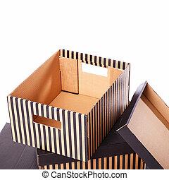 boîtes, blanc, arrière-plan dépouillé