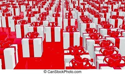 boîtes, blanc, cadeau, rouges