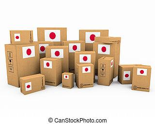boîtes, blanc, isolé, fond, carton
