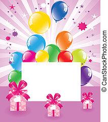 boîtes, cadeau, fête, vecteur, ballons