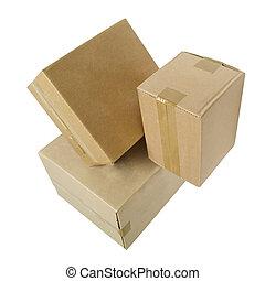 boîtes, carton, blanc