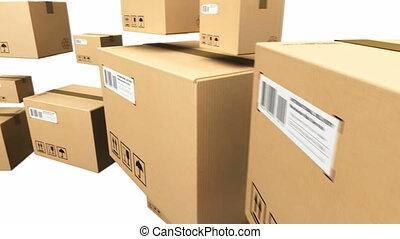 boîtes, carton, en mouvement