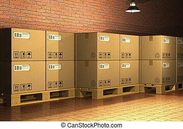 boîtes, carton, expédition, palettes