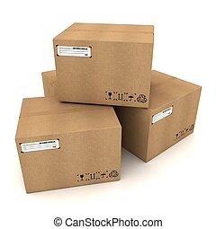 boîtes, carton, fond blanc