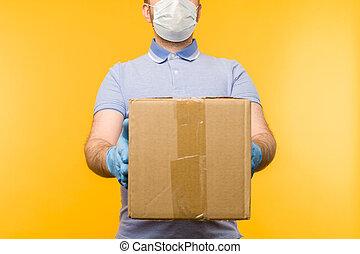 boîtes carton, gants, caoutchouc, homme, monde médical, mask., tenue